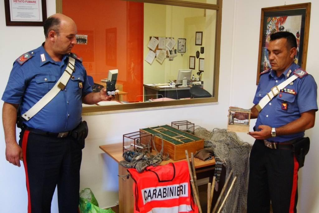 Carabinieri sequestrano gabbie e richiami per la cattura dei volatili