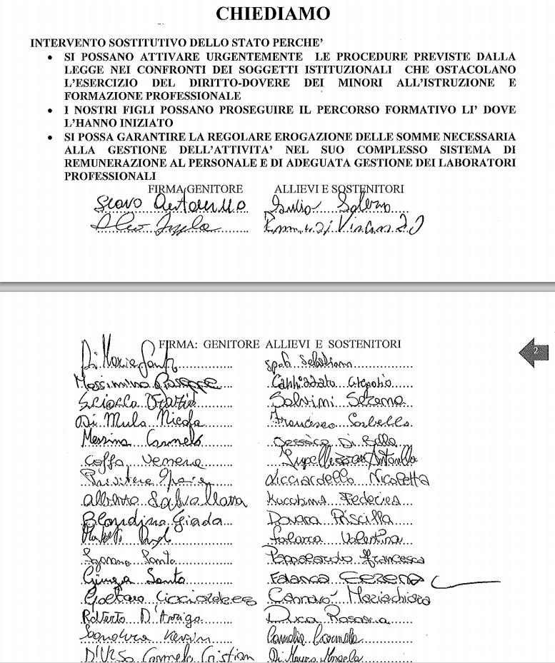 Petizione della sezione di Acireale