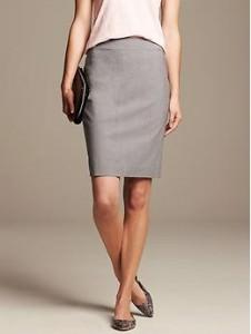 Gray Lightweight Wool Pencil Skirt - Gray heather