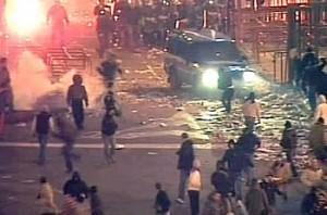Altri scontri all'esterno dello stadio Massimino