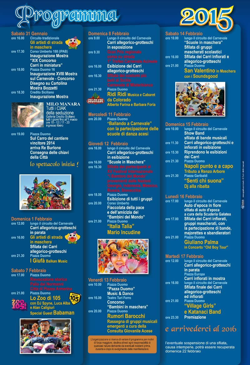 programma carnevale 2015