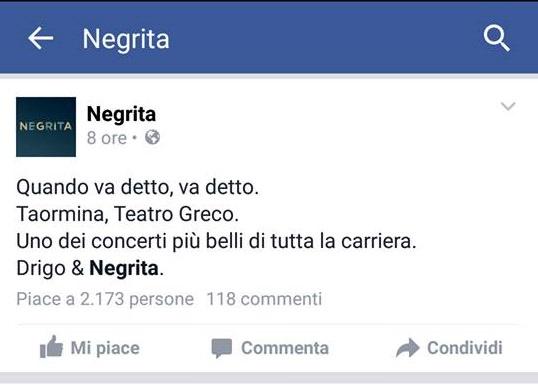 Negrita Facebook fanpage