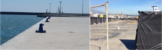 La darsena del porto prima e dopo il crollo della banchina