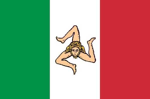 La bandiera del Regno di Sicilia del 1848: la trinacria sul tricolore. Questo regno indipendente verrà soppresso l'anno seguente.