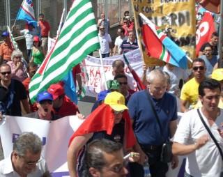 La manifestazione sindacale