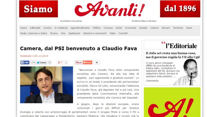 Camera, dal PSI benvenuto a Claudio Fava   Avanti!