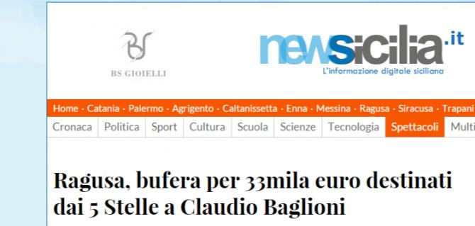 Ragusa, bufera per 33mila euro destinati dai 5 Stelle a Claudio Baglioni - NewSicilia
