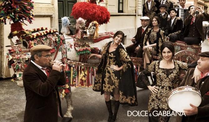 Carretti siciliani per la campagna 2012 di Dolce e Gabbana con Monica Bellucci e Bianca Balti.