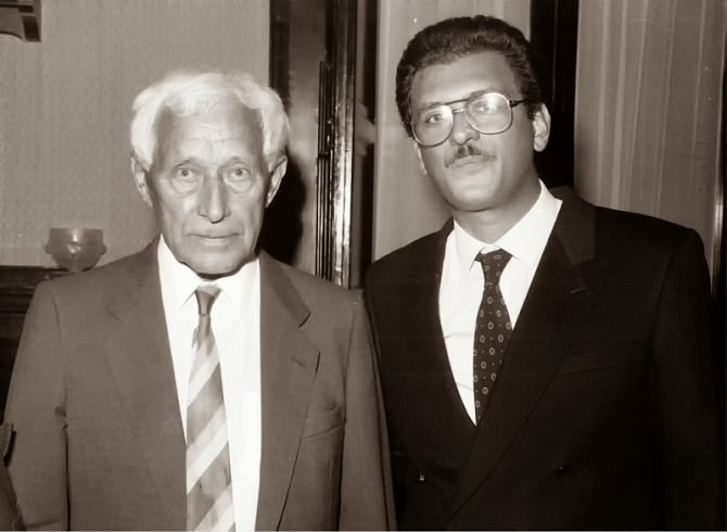 Tommaso Romano nel 1989 con Ernst Junger