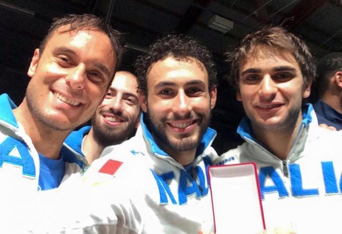 Foto Paolo Pizzo ed Enrico Garozzo con Marco Fichera ed Andrea Santarelli