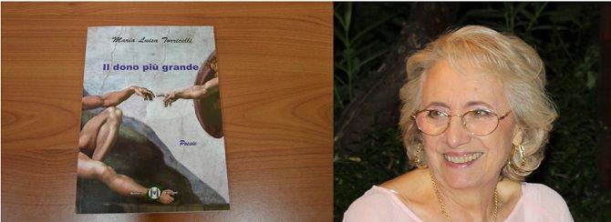 """Nella foto, il libro """"Il dono più grande"""" e l'autrice Maria Luisa Torricelli"""