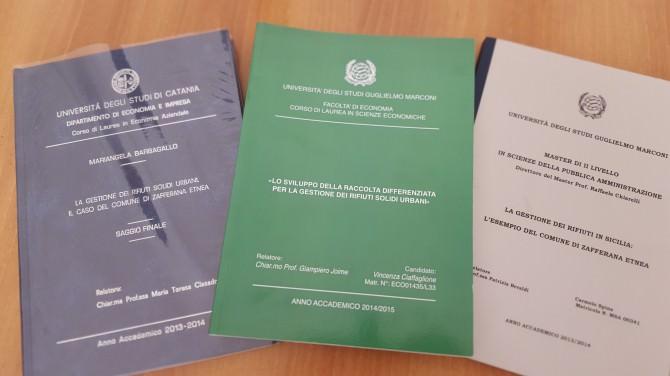 le tre tesi di laurea (copertine)