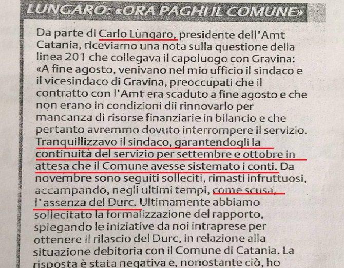 Gravina-AMT sollecito Lungaro