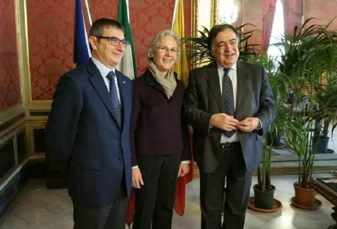 Palermo, il sindaco Orlando riceve l'ambasciatore tedesco Wasum Rainer