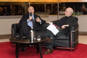 Paolo Mieli e Saverio Costanzo durante la presentazione del libro (foto Egidio Liggera)