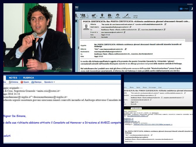 collage Farnesina e Hannover scambio mail