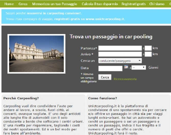 università carpooling