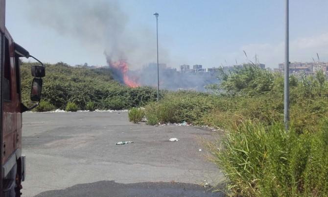 Incendio al viale Nitta: le fiamme sfiorano un palazzo