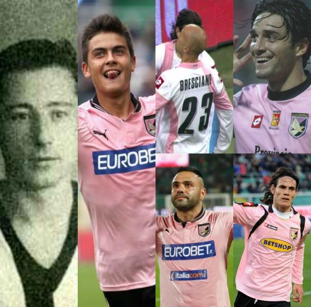 Da sinistra: Americo Ruffino, Paulo Dybala, Bresciano e Miccoli, Toni e Cavani