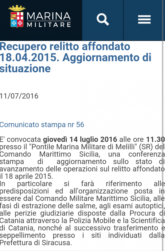 Comunicato stampa Marina