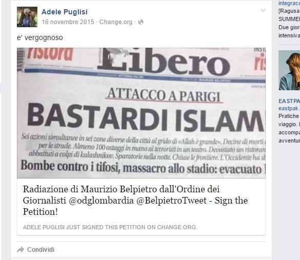 Post contro Maurizio Belpietro Adele Puglisi