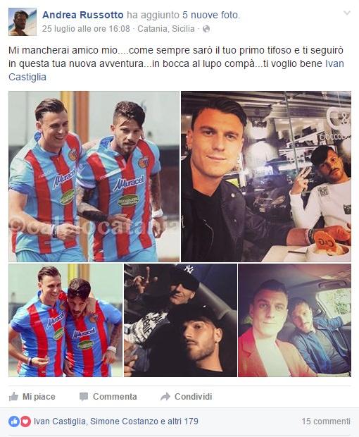 Il post di Andrea Russotto, che saluta l'amico ed ex compagno di squadra Castiglia