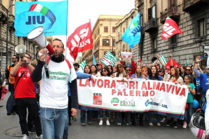 Almaviva protesta lavoratori Palermo