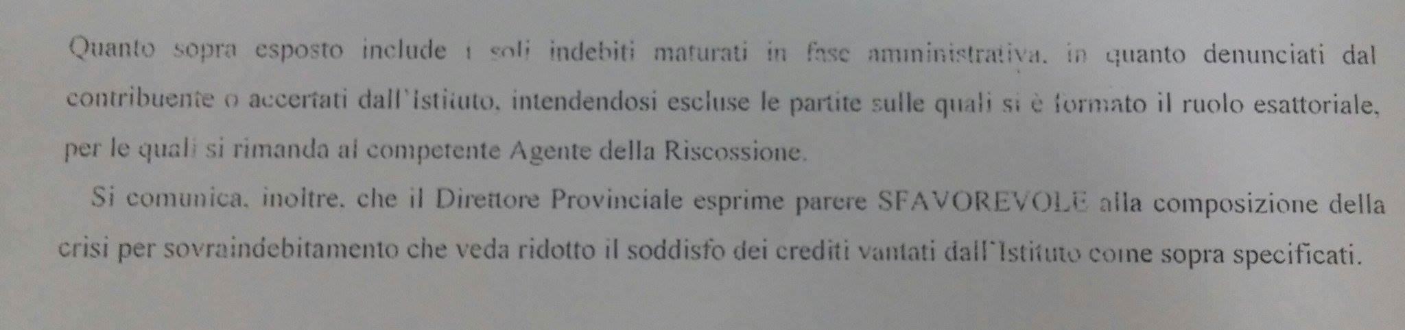 Risposta standard dopo la presentazione della procedura di composizione della crisi per sovraindebitamento