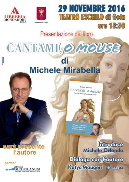 """Domani a Gela presentazione del libro """"Cantami, o mouse"""" di Michele Mirabella"""