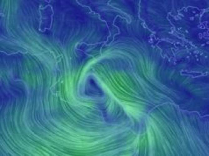 Meteo:previsto l'arrivo di un ciclone e di violenti temporali per domani