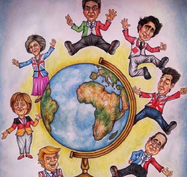 Per il G7 di Taormina, Acireale raffigura i 7 potenti in cartapesta
