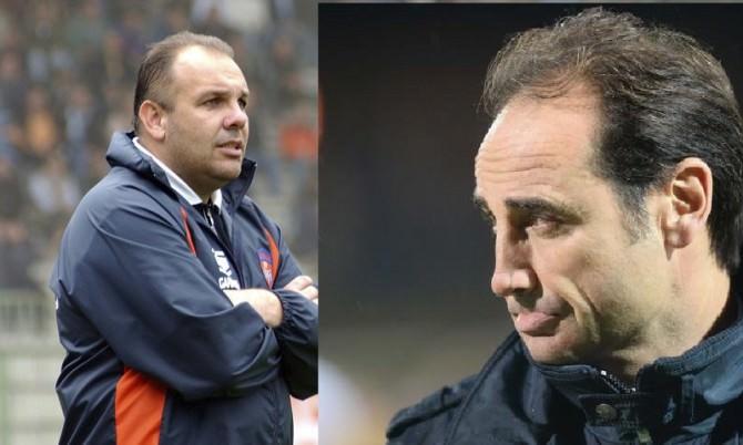 Bruno Tedino (a sinistra) e Fabio Lupo (a destra), rispettivamente nuovo allenatore e direttore sportivo del Palermo
