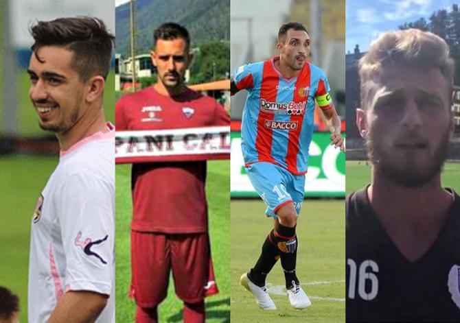 Da sinistra: Igor Coronado (Palermo), Anthony Taugourdeau (Trapani), Francesco Lodi (Catania), Andrea De Rossi (Sicula Leonzio)