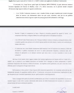 Il contenuto della missiva spedita dal sindacato Sifus-Confali