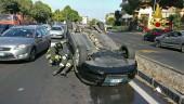 Catania, incidente autonomo alla circonvallazione: auto si ribalta. Traffico in tilt FOTO